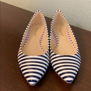 Nine West Navy and White Flats